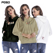 PGSD New Autumn winter Simple Fashion Pure Colored Big size Women Clothes Loose Printed casual Hooded Sweatshirt female Pullover