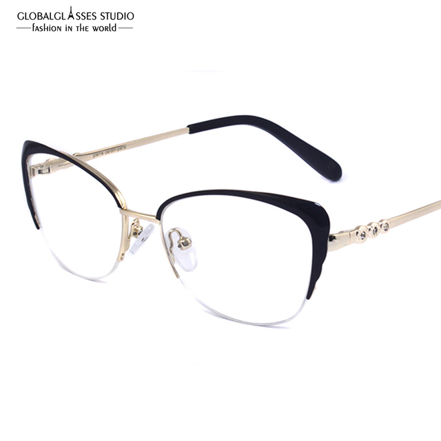 Женская мода Марка Дизайнер Металлические Очки Изящные Полукадра Cat Eye Очки Женщин Очки Кадры Высокого качества LZ