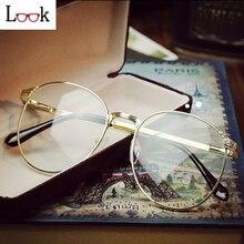 Venta de Metal de La Vendimia Gafas Redondas Gafas de Marco Marcos de Anteojos de Marca Mujeres Hombres Gafas Gafas de Marco de Espectáculo Óptico Oculos Lunette de Vue