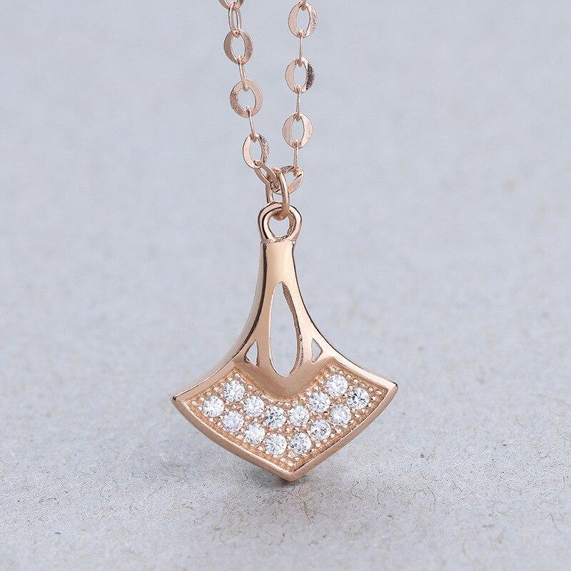 S-S925 en argent sterling incrusté chaîne en or rose nouvelle mode argent chaîne de couverture de mode Femmes collier en argent pendentif