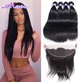 Queen Hair Brazilian Virgin Hair With Closure Brazilian Straight Hair With Closure Ear to Ear Lace Frontal Closure With Bundles