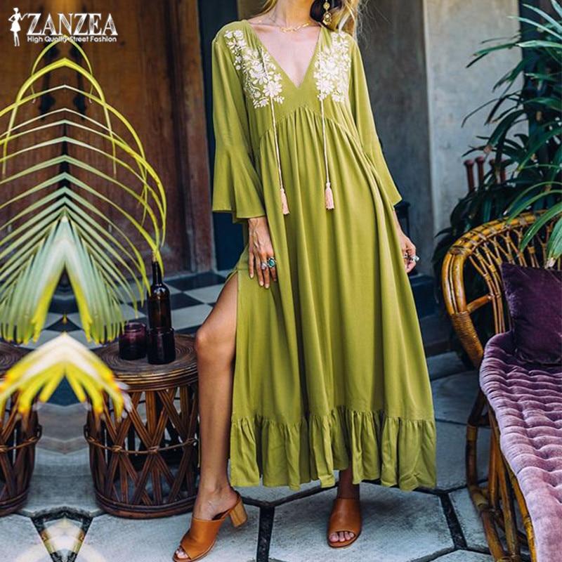 Ruffle Dress Women's Print Sundress 2019 ZANZEA Sexy V Neck Split Maxi Vestidos Female Bohemian Beach Flare Sleeve Tunic Robe