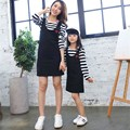 2017 New Arrival Spring Mother Daughter Dresses Girls Dress Family Matching Clothes Cotton Striped Full Sleeve Dress Family Look