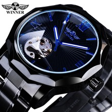 Winner 2019 Black Stainless Steel Fashion Blue Hands Mens Mechanical Watch Top Brand Luxury Irregular Shape Dial Luminous Hands