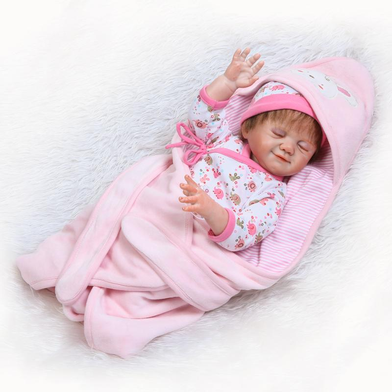 NPK Vinyl Lifelike Silicone Reborn Sleeping Baby Dolls Realistic boneca bottle pacifier Early education toys bath dolls npk black skin full silicone girl pacifier model baby dolls 56cm lifelike reborn baby boneca can enter water bath doll toys