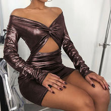New Women Bronzing Laser Long Sleeve Bodycon MIni Dress 2019 long sleeve blouses shirts vintage above knee mini vestidos S-3XL