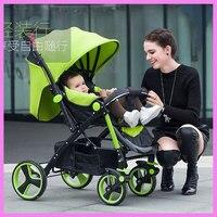 High Landscape Steel Light Baby Stroller Four Wheels Lightweight Travel Portable Umbrella Car Baby Carriage Pram Buggy Pushchair