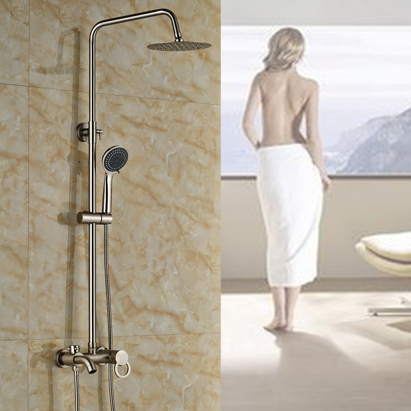 Brushed Nickel with Handheld Bathroom Shower Mixer Faucet Wall Mounted Single Handle Bath and Shower Faucet