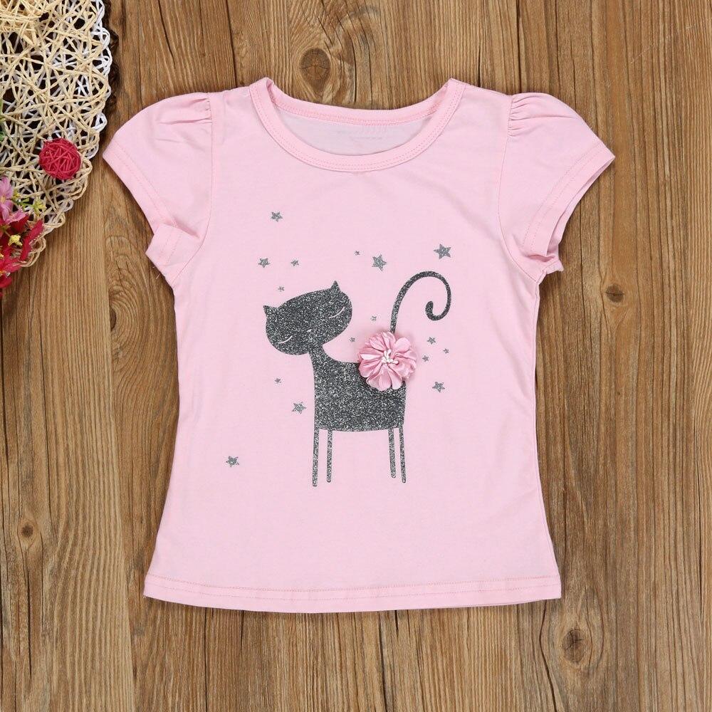 2018 cute Summer Kids Girls Cartoon Little three-dimensional flower cat Shirt Dress Clothes Set P30 baby clothes