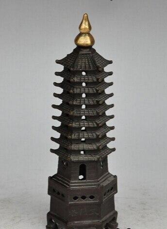 "008562 8""Tibet Buddhist pagoda Stupa bronze Copper ninth floor Wenchang Tower Statue"