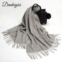 DANKEYISI Pure Wool Scarf For Women Men Pashmina Echarp Cashmere Scarf Female Wrap Bandana Winter Spring Long Women Scarf Shawls