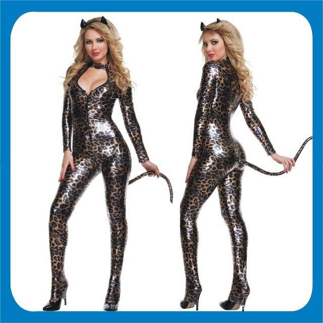 23d51bda732 Adult womens girls Sexy jump suit leopard jungle tiger kitty wild cat women  full set Fancy