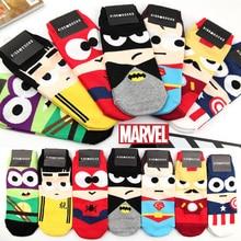 35-43 1lot=7pairs MARVEL spin-off Iron kid Ninja Batman Superman SpiderMan Captain America Avengers alliance cartoon ankle socks
