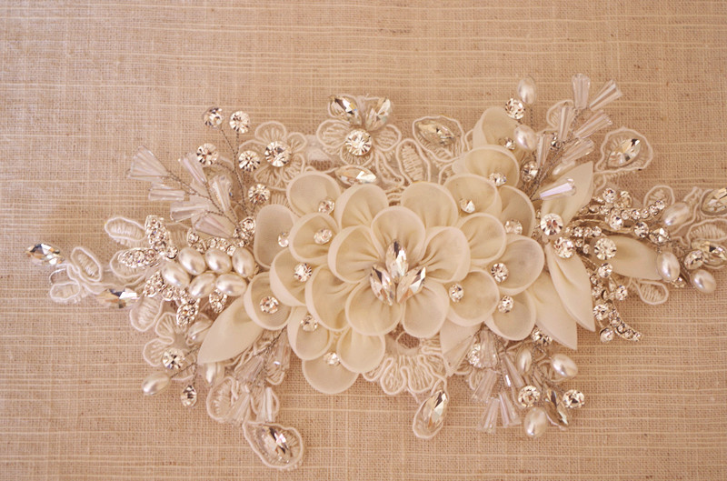 bridal rhinestone applique with handmade ivory 3D flower rhinestones and beads,  handmade rosette applique-in Rhinestones from Home & Garden    1