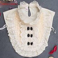 Nuevas Mujeres al por mayor Collar Falso Ropa Shirt Cuellos de Marfil blanco de Encaje de Flores A123 A124 A125