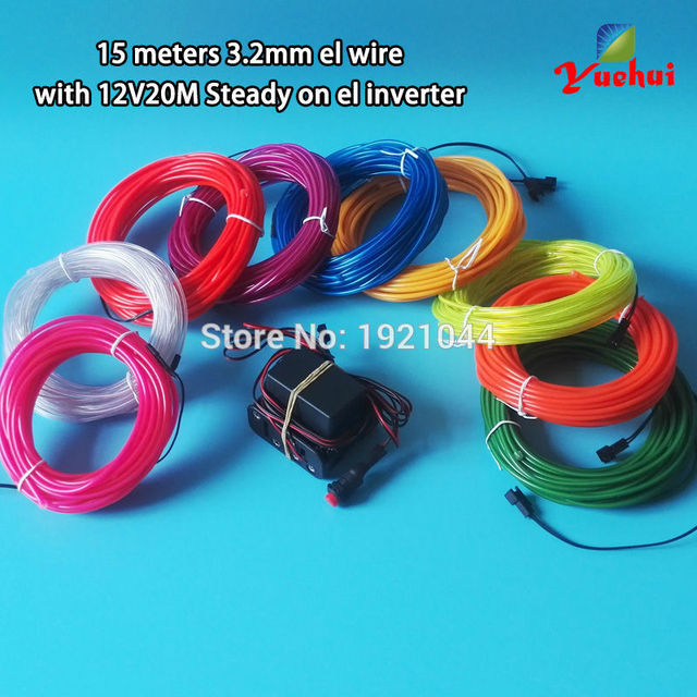10 Colors Choice 15Meters 3.2mm EL Wire Rope Tube Powered by ...