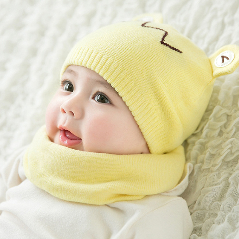Winter new men and women baby children hat Cartoon wool knit hat Cotton pullover cap scarf set Warm winter hat beanie(China)