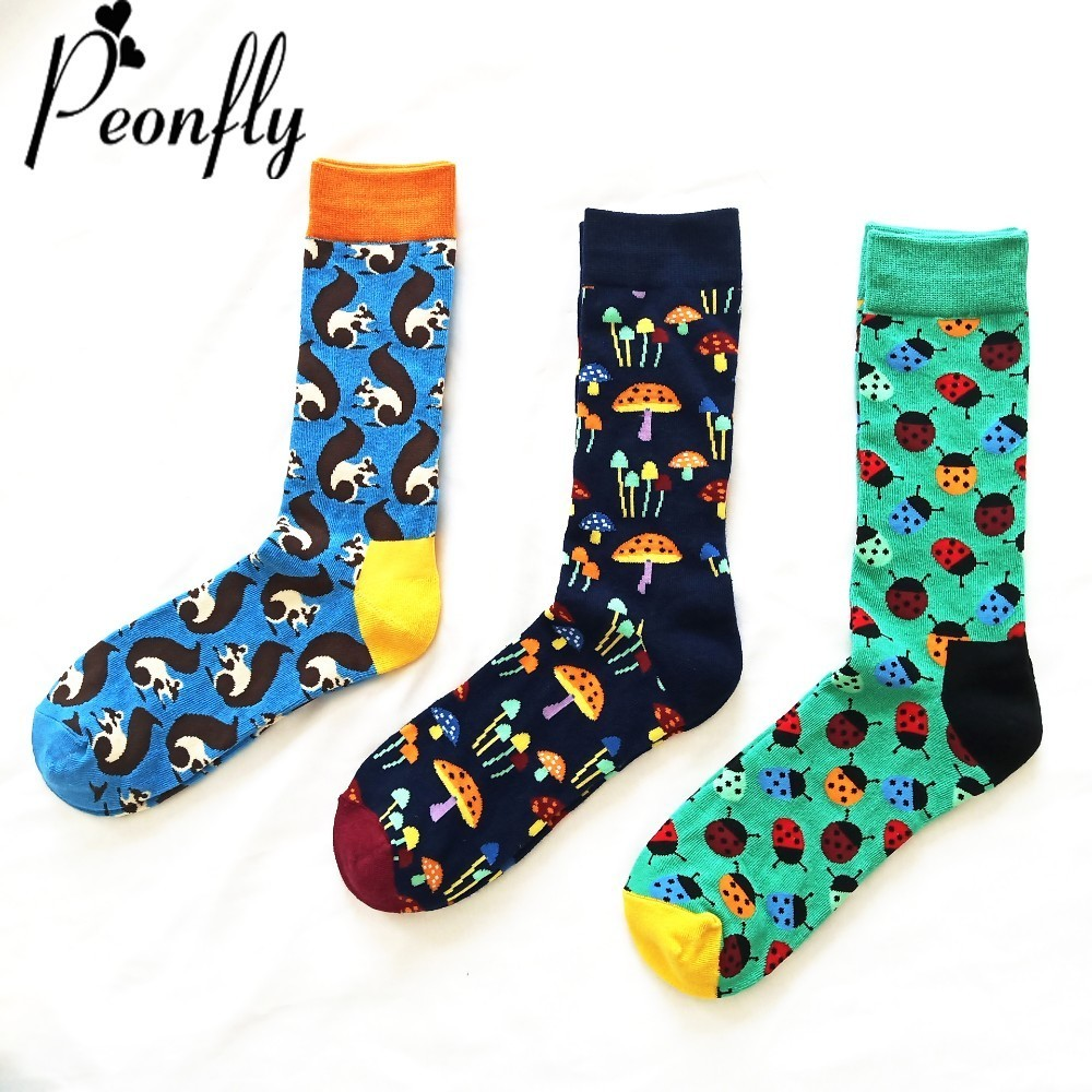 PEONFLY Fashion funny novelty men   sock   Man Personality Cartoon Beatles Squirrel Mushroom Pattern Male casual Cotton   Socks