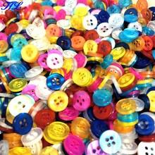 300pcs 10MM HL 4-holes mix colors plastic buttons garment sewing accessories DIY scrapbooking A134