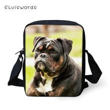 ELVISWORDS Fashion Women Messenger Bags Cute Bulldogs Animal Prints Pattern Shoulder Girls Flaps Handbags Kids Mini Mochila