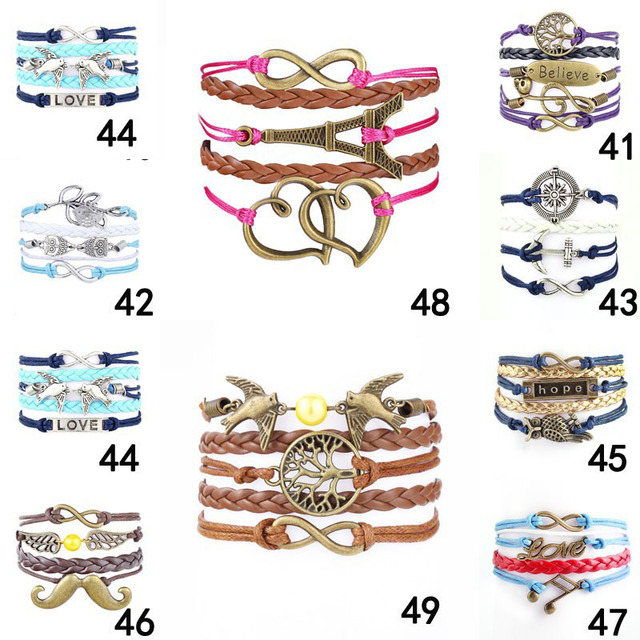 2015 Fine Jewelry Multilayer Leather Bracelet Arrow Eiffel Tower Anchors Infinit