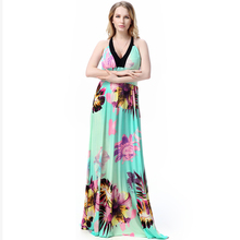 eacc3b548d8 Новинка 2016 г. летнее богемное Длинные Женское платье с модным принтом без  рукавов с открытой спиной женская одежда плюс Размер..