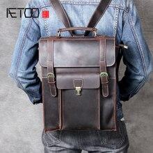 AETOO Retro single shoulder backpack head cowhide bag leather crossbody