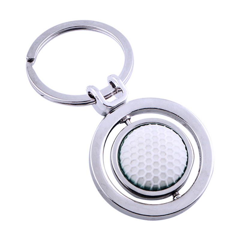 3D Cute Rotary Rubber Golf Ball Alloy Metal Keychain Fashion Keyring Sports Style Key chain Rotating car key holder dropshipping