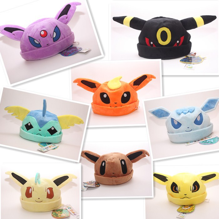 1 Piece Pokemon Cute Soft Warm Plush Winter Hat Umbreon Espeon Jolteon Flareon Eevee Leafeon Glaceon Vaporeon Cosplay Cap Gift dhl wholesale 5sets lot anime pikachu figures eevee espeon umbreon glaceon vaporeon mini styles pvc pikachu action figures 2 3cm
