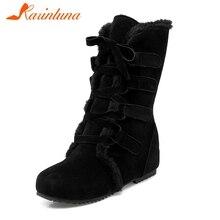 KARINLUNA/Новые однотонные черные женские ботинки, увеличивающие рост, на плоской подошве, со шнуровкой, повседневные зимние ботинки до середины икры большой размер 30-52