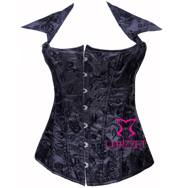 WomenGothic Sexy Embroidery Halter   Bustiers  &  Corsets   Black Dobby Lacing Up Boned Overbust   Corset   Top Corselets Intimates Lingerie
