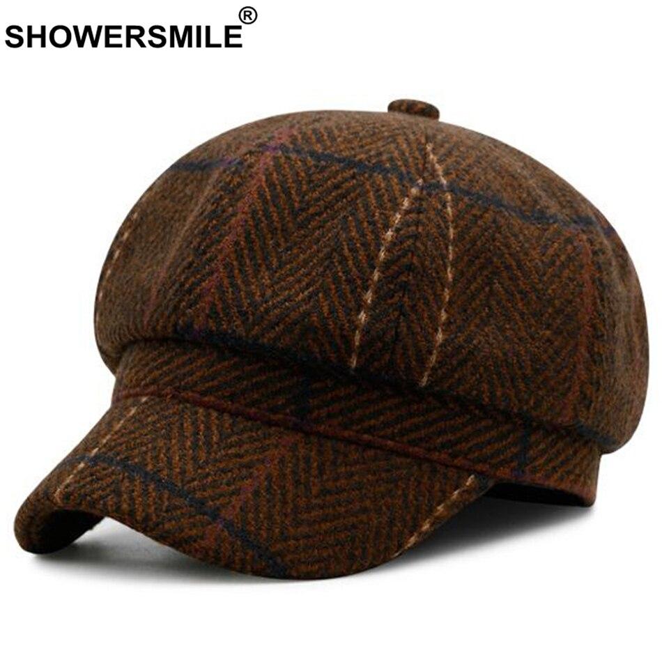 6d75cc82d0c SHOWERSMILE Herringbone Newsboy Cap Hat Men Brown Wool Vintage Caps Women  British Style Flat Caps Autumn Winter Caps And Hats