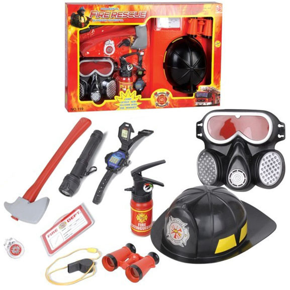 Fuego simulación las herramientas conjunto fire tapa juguete de los niños fireman extintor casco máscaras de gas