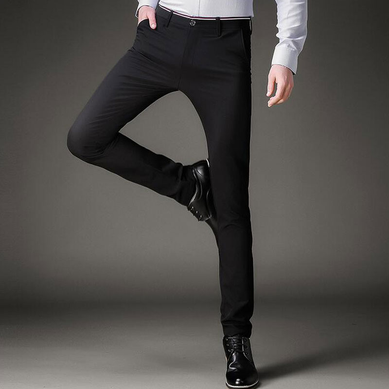 39a543bc3 Earoomze Fashion 2018 Spring Mens Dress Suits Pants Korean Slim Fit Skinny Black  Trousers Man Casual Tight Stretch Work Pants-in Skinny Pants from Men s ...