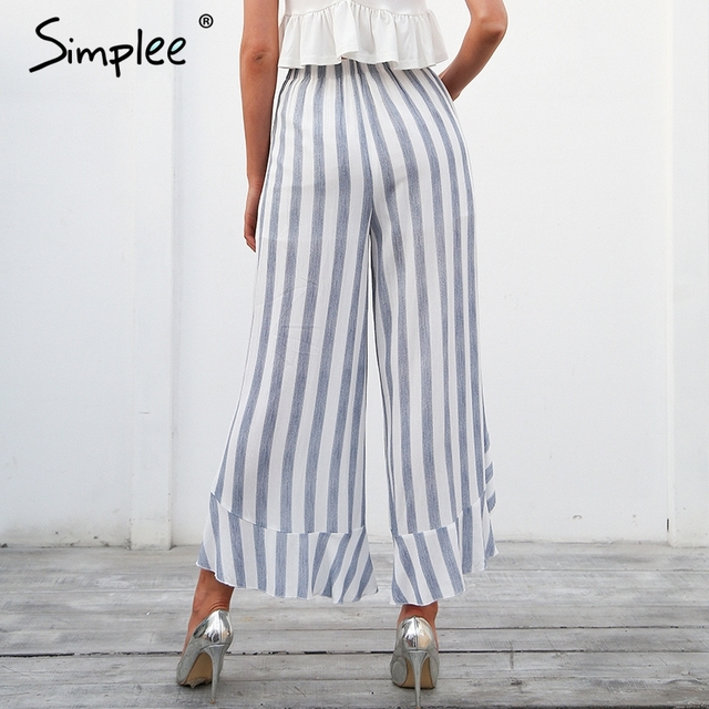 Simplee Stripe split wide leg pants women bottom Sash ruffle high waist trousers Summer beach casual pants female 2
