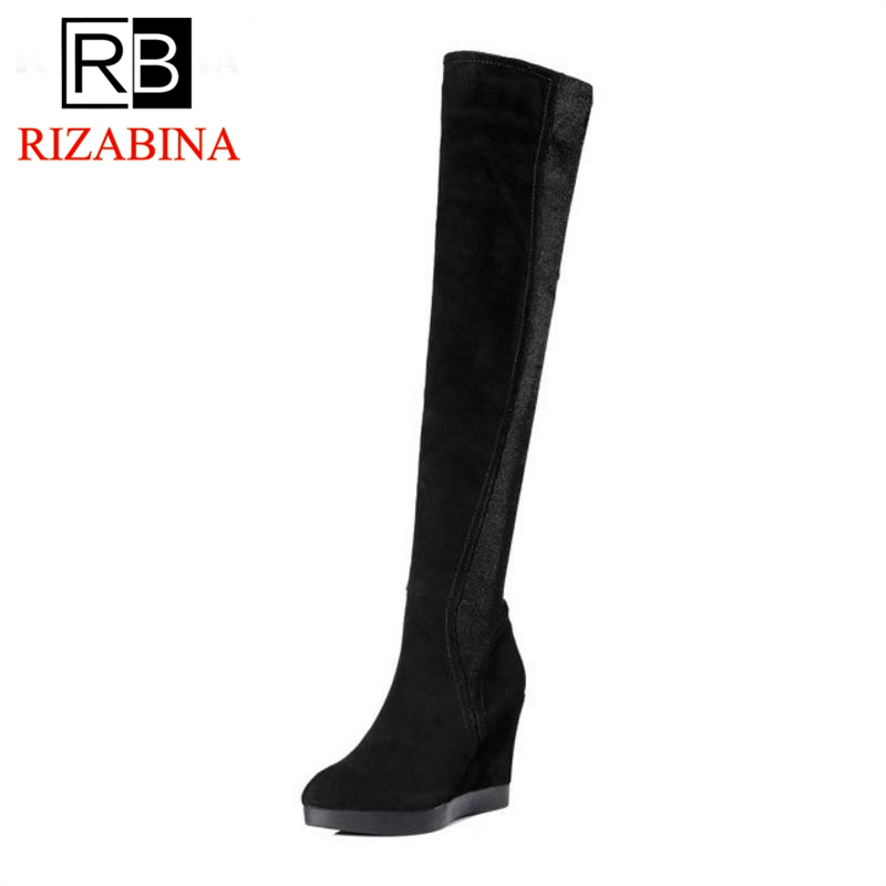 RizaBina Women Real Leather High Heel Wedges Winter Boots Women Over Knee Boots With Warm Fur Inside Elastic Shoes Size 34-39 rizabina cold winter snow shoes women real leather warm fur inside ankle boots women thick platform warm winter botas size 34 39