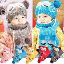 Красивая зимняя детская шапка для маленьких девочек, вязаная шапка для мальчиков, новая дизайнерская детская шапка с рисунком совы, шарф, комплект из двух предметов, HT52019+ 30