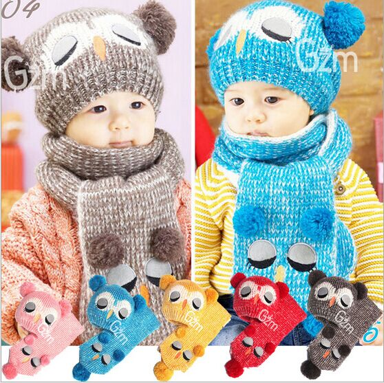 Pretty Baby Girl Winter Hat Baby Boy Bone Knitted Cap For Boy New Owl Design Children's Hat Scarf Set Two Pieces HT52019+30