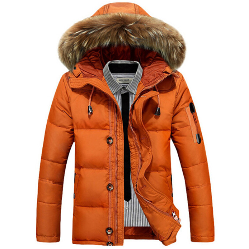 2017 Winter Jacket Men Fashion Thick Warm Duck Down Jackets Mens Fur Collar Hooded Outerwear Coats Mens Parkas Brand Clothing buenos ninos thick winter children jackets girls boys coats hooded raccoon fur collar kids outerwear duck down padded snowsuit