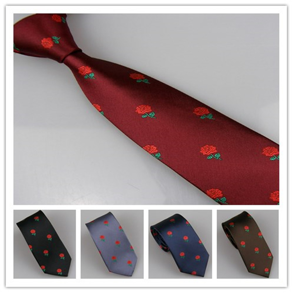 LAMMULIN Ties Blue with Red Parrot bird Pattern Necktie Jacquard Skinny Tie 7cm