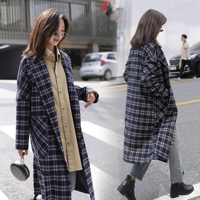 2018 Women Medium Long Plaid Trench Dark Blue Female Turn-down Collar Coat Full Sleeve Wide-waisted Loose Overcoat Streetwear