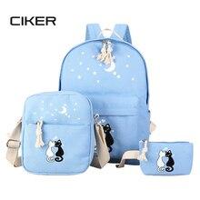 Ciker женщины холст рюкзак mochila рюкзак животных печать сумка печати рюкзаки для подростка, школьные сумки 3 bags/set