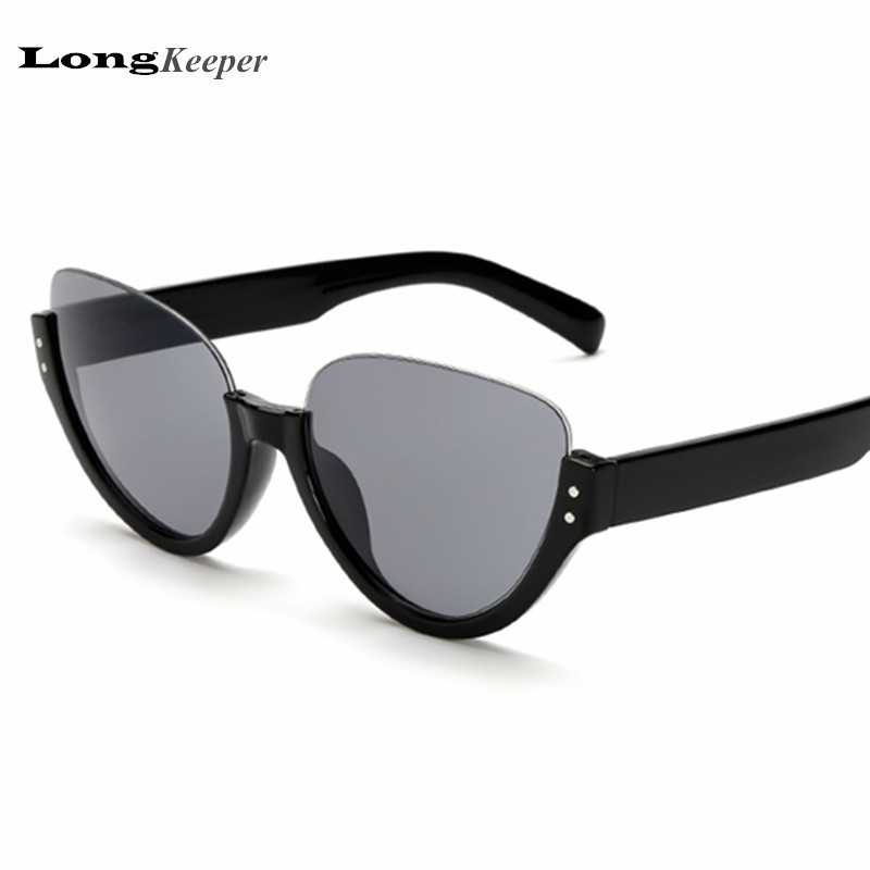LongKeeper Half Frame Sunglasses for Women Men Top Rimless ...
