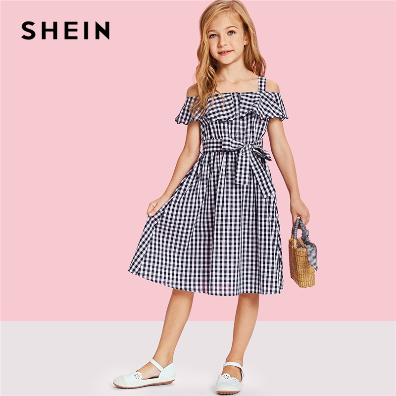 SHEIN Kiddie Flounce Cold Shoulder Gingham Dresses With Belt Mother Kids 2019 Summer Short Sleeve A Line Matching Family Outfits
