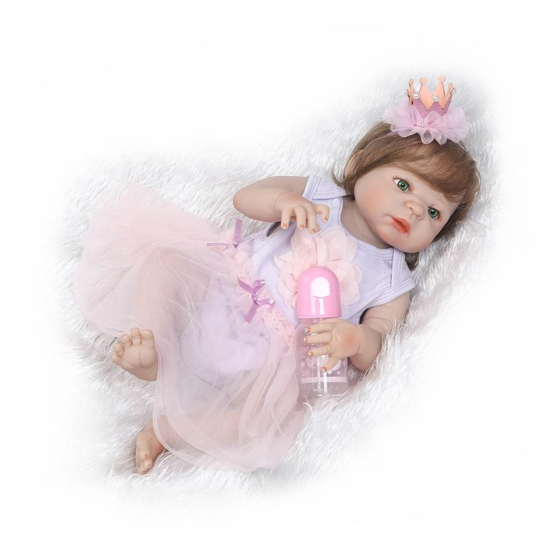 Nicery 22inch 55cm Bebe Reborn Doll Hard Silicone Boy Girl Toy Reborn Baby Doll Gift for Children Purple Princess Hat Baby Doll nicery 18inch 45cm reborn baby doll magnetic mouth soft silicone lifelike girl toy gift for children christmas pink hat close