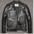 Envío shipping.2016 nuevo invierno cálido DHL Marca ropa de hombre Chaquetas de cuero de vaca, hombres chaqueta de motociclista de Cuero genuino. motocicleta