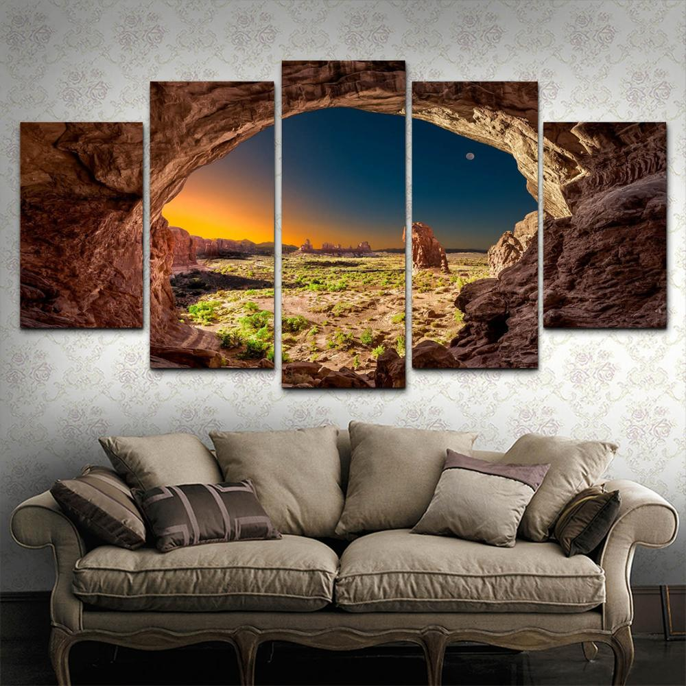 HD Printed 5 Piece Canvas Art Arch Rock Utah Landscape Sunrise Canyon Home Decor Poster Picture For Living Room YK 564