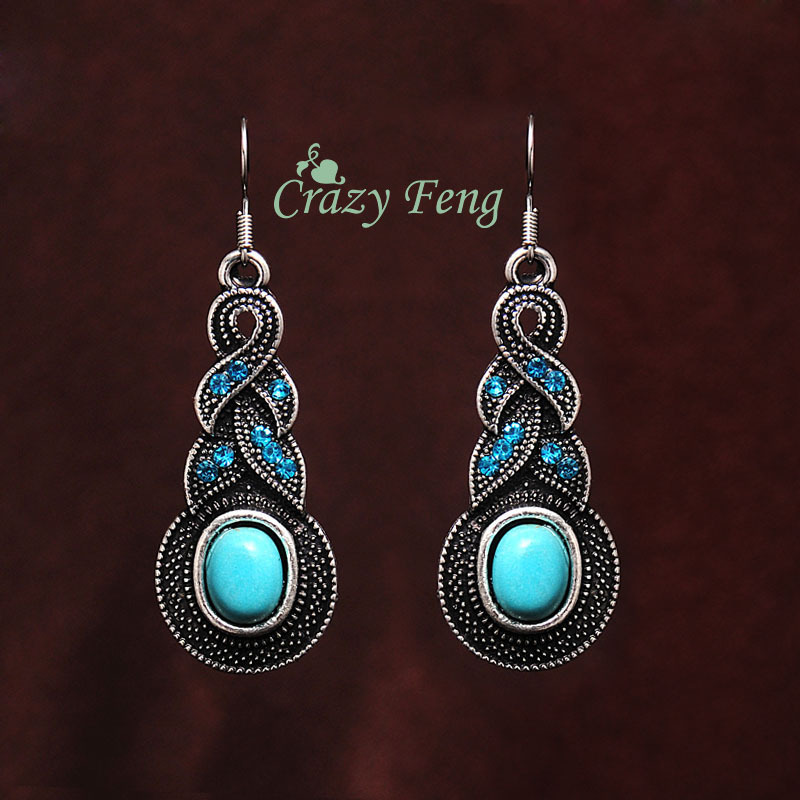 Crazy Feng Jewelry Free Shipping Ethnic Boho Earrings Tibetan Antique Silver Color Oval Crystal Stone Drop Dangle Earrings 2018