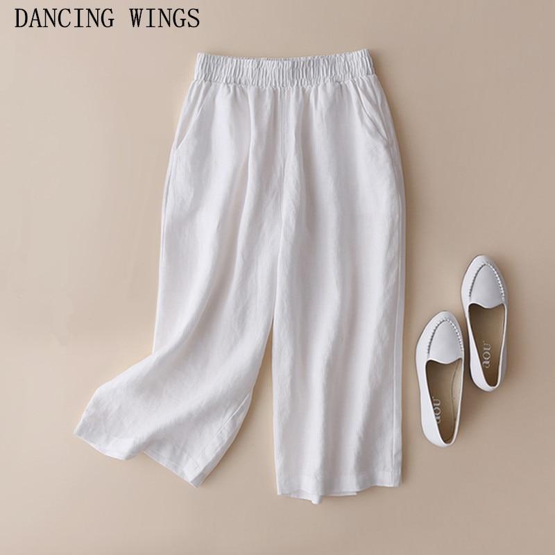 High Quality Women Plus Size   Capris     Pants   Elastic Waist Cotton Linen Loose Casual Wide Leg   Pants   Summer