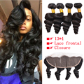 8A 5Pcs Loose Curly Ear To Ear 13x4 Lace Frontal Closure With Hair Bundles Cheap Brazilian Human Hair Lace Closure With Bundles
